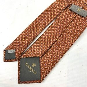 Canali Accessories - CANALI Macclesfield Tie Geometric Brown Gold Silk